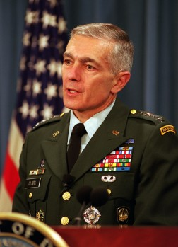 Supreme Allied Commander Europe Gen. Wesley Clark, U.S. Army, briefs reporters on the status of the NATO-led, international peacekeeping operation in Bosnia and Herzegovina at the Pentagon on Dec. 9, 1999. The first U.S. peacekeepers entered the war-ravaged country five years ago this month in an effort to stop the ethnic killings and prevent further deterioration of the region's infrastructure. DoD photo by R. D. Ward. (Released)